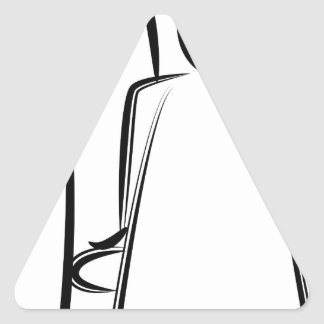Chiffre dessin de bâton de coiffeur sticker triangulaire