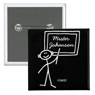 Chiffre drôle étiquette de nom - mâle de bâton de  badge carré 5 cm