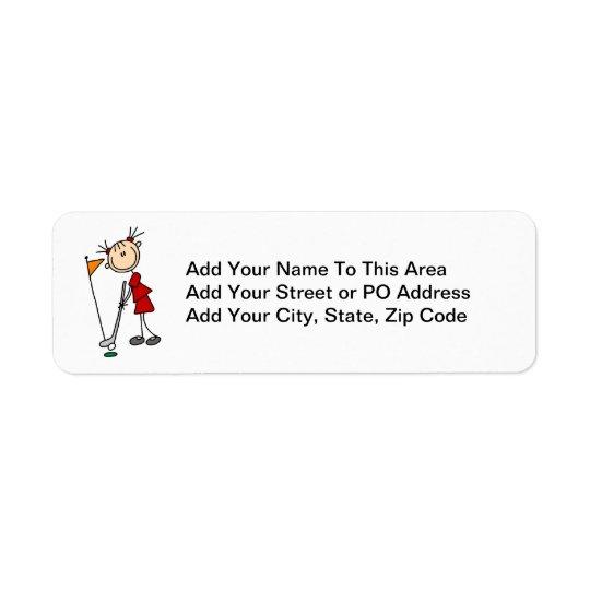 Chiffre femelle golfeur de bâton étiquette d'adresse retour