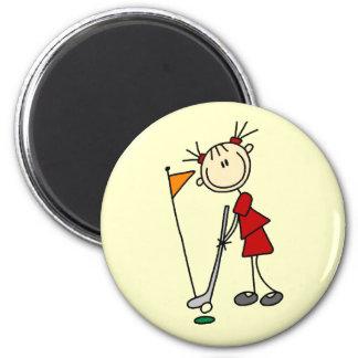 Chiffre femelle golfeur de bâton magnet rond 8 cm