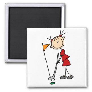 Chiffre femelle golfeur de bâton magnet carré