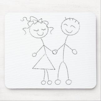 Chiffre garçon et fille de bâton tapis de souris