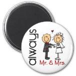 Chiffre M. et Mme Always de bâton de couples de ma Aimants