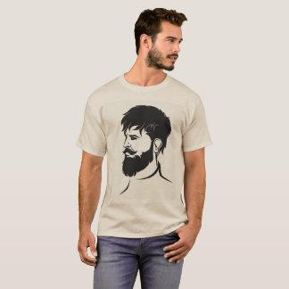 chiffre masculin de hippie avec la barbe t-shirt