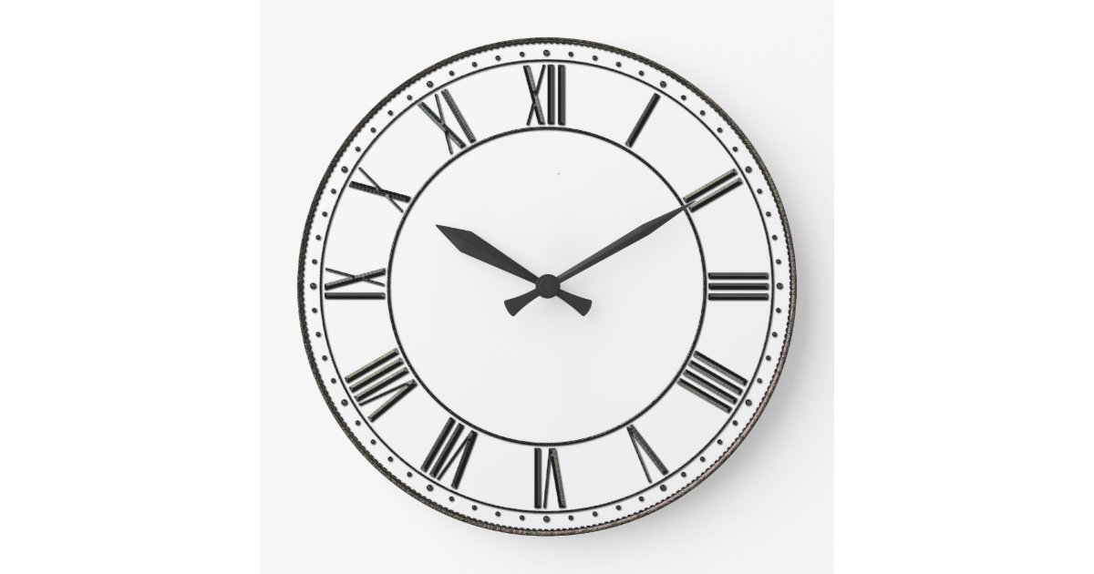 chiffre romain vintage grande horloge ronde zazzle. Black Bedroom Furniture Sets. Home Design Ideas
