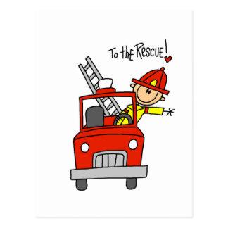 Chiffre sapeur-pompier de bâton à la délivrance carte postale