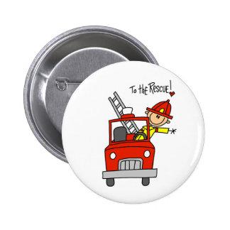 Chiffre sapeur-pompier de bâton avec le bouton de badge
