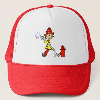 Chiffre sapeur-pompier de bâton avec le tuyau casquette