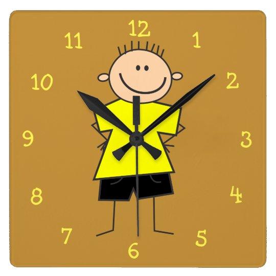 Chiffre souriant adorable horloge murale de bâton