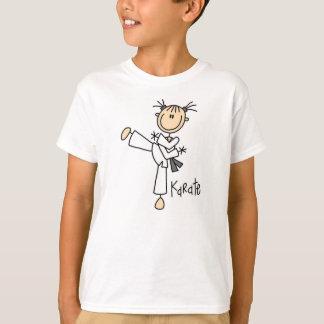 Chiffre T-shirt de bâton de fille de karaté