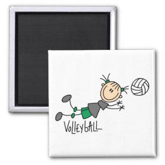 Chiffre T-shirts et cadeaux de bâton de volleyball Magnet Carré