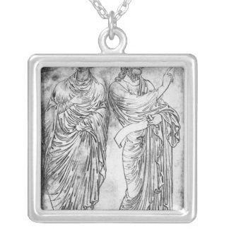 Chiffres de deux apôtres ou prophètes pendentif carré