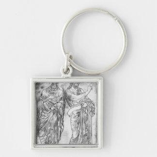 Chiffres de deux apôtres ou prophètes porte-clé carré argenté