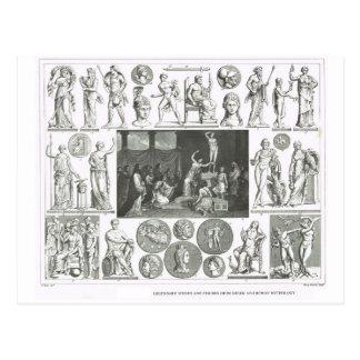 Chiffres légendaires de la mythologie grecque et cartes postales