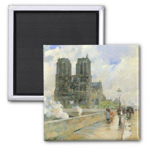 Childe Hassam - cathédrale de Notre Dame 1888 Magnets Pour Réfrigérateur