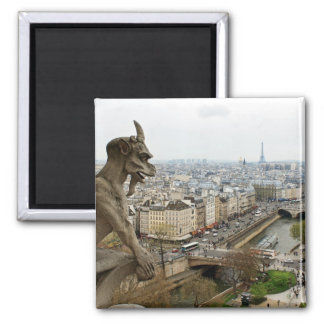 Chimère de Notre Dame de Paris Magnet Carré