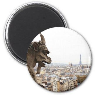 Chimère de Notre Dame de Paris Magnet Rond 8 Cm