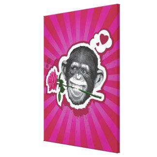 Chimpanzé avec un rose dans sa bouche toiles