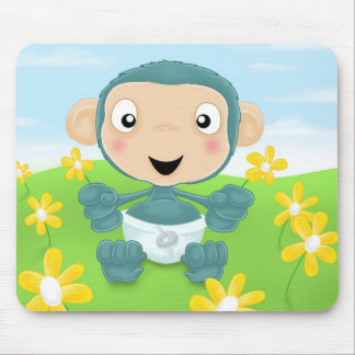 chimpanzé de bébé dans le domaine des fleurs tapis de souris