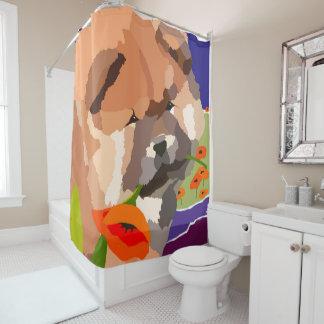 CHIOT de BOUFFE dans le rideau en douche de PAVOTS