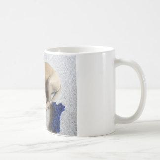 chiot de cabot de Noir-bouche avec le jouet bleu Mug