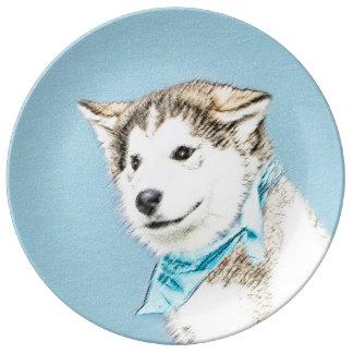 Chiot de chien de traîneau sibérien assiette en porcelaine