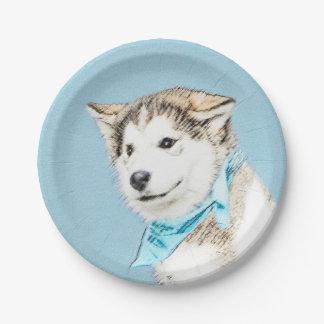 Chiot de chien de traîneau sibérien assiettes en papier