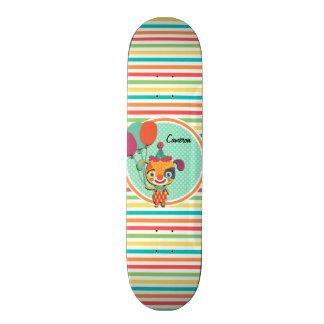 Chiot de cirque Rayures lumineuses d arc-en-ciel Skateboard Customisable