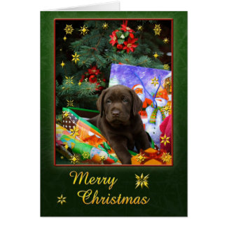 Chiot de Labrador dans l'humeur de Noël Carte De Vœux