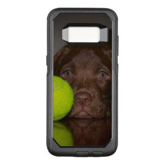 Chiot de Labrador de chocolat avec de la balle de Coque Samsung Galaxy S8 Par OtterBox Commuter