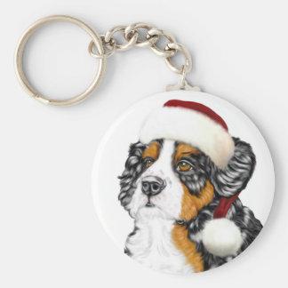 Chiot de Père Noël de chien de montagne de Bernese Porte-clé Rond