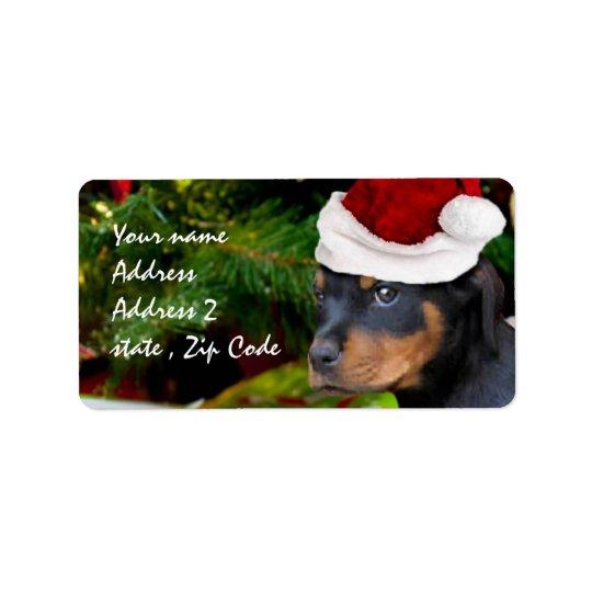 Chiot de rottweiler de Noël Étiquette D'adresse