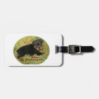 chiot de rottweiler de pureinnocence étiquettes bagages