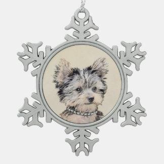 Chiot de Yorkshire Terrier Ornement Flocon De Neige Pewter