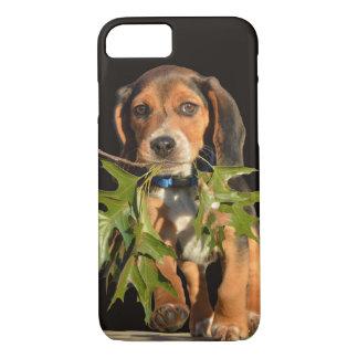 Chiot espiègle de beagle avec le feuille coque iPhone 7