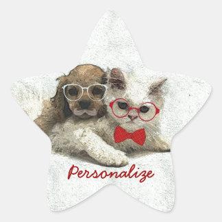 Chiot et chaton à la mode drôles adorables mignons autocollants en étoile
