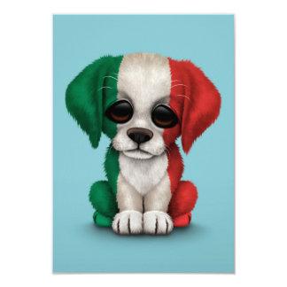 Chiot italien patriotique mignon de drapeau, bleu carton d'invitation 8,89 cm x 12,70 cm