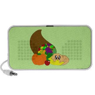 Chiot mignon de thanksgiving avec la corne haut-parleur portable
