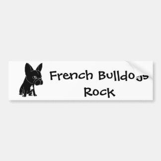Chiot noir drôle de bouledogue français autocollant pour voiture