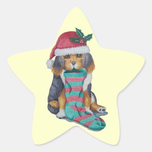 chiot noir et brun mignon avec le bas de Noël Sticker En Étoile