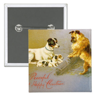 Chiots dans la paille, carte postale victorienne pin's