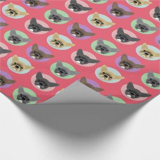 Chiots de bouledogue sur les cercles en pastel papiers cadeaux noël