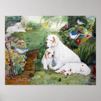 Chiots de Clumber dans le jardin, aquarelle Reprod Posters