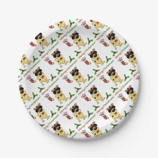 Chiots de Noël Assiettes En Papier