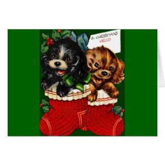 Chiots de Noël bonjour Cartes De Vœux