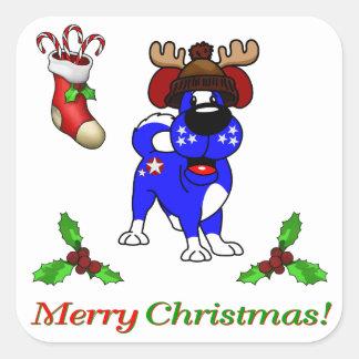 Chiots de Noël Sticker Carré