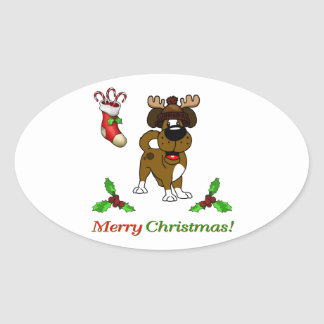 Chiots de Noël Sticker Ovale