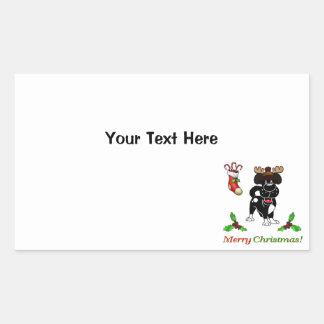 Chiots de Noël Sticker Rectangulaire
