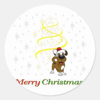 Chiots de Noël Sticker Rond