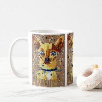 chiwawa, chien, tasse de café, acrylique, art